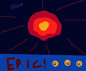 Blue strip epic explosion in space