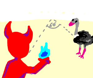 Demon has to burn a ostrich by Angle