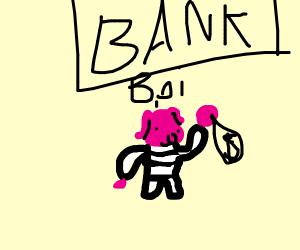Bank robber pig