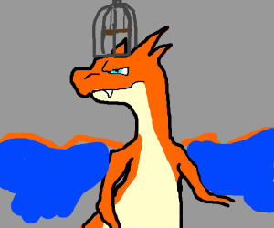 charizard with a birdcage on its head