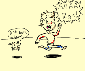 man being chased by a rat