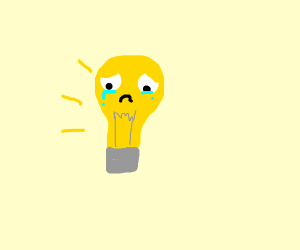 sad light bulb is sad