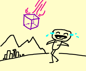 laughing as a purple cube falls from the sky
