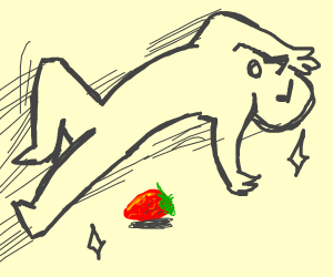 Man jumping over strawberry
