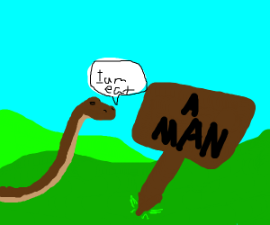 snake about to eating a man