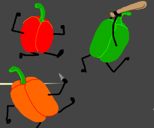 fighting bell peppers