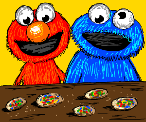 Elmo and Cookie Monster w/ cookies on table