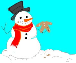Snowman eats gingerbread man