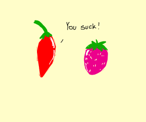 chili pepper abuses pink strawberry