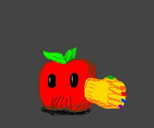 An apple with thanos's glove.