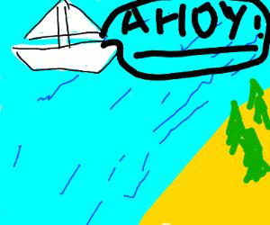 sailboat approaching land