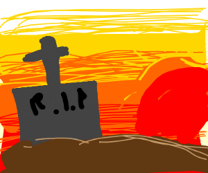 graveyard with sunset