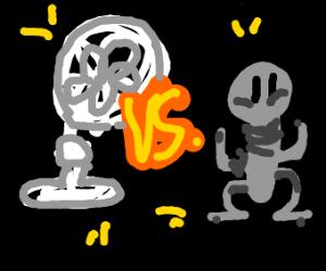 fan vs. gray person