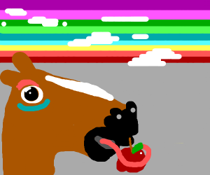 Horse tries to eat apple in front of rainbow