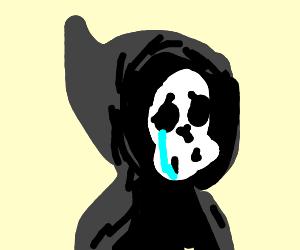 sad grim reaper with a single tear