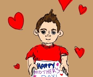 Boy giving a Mother's Day card
