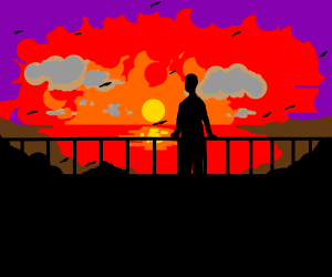 black slave watches the sunset one final time