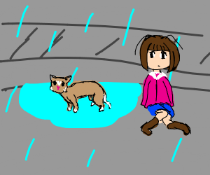 Girl sitting next to cat in puddle
