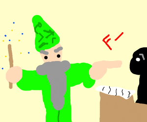 mighty wizard with green clothes
