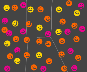 A room filled with smiley faces