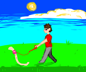 Blush man takes a worm for a walk outside