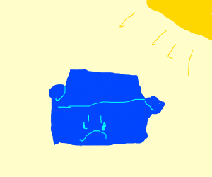 sad blue couch in sun