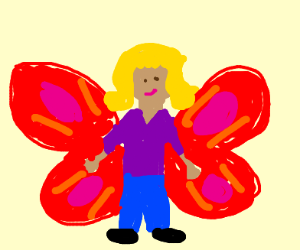 A person with red wings