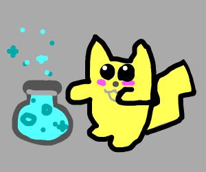 Pikachu using a potion