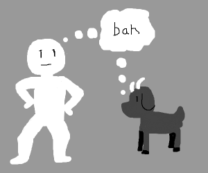 "a man and a goat both think ""bah"""