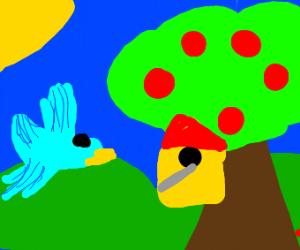 Bird house in tree
