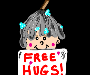 Girl with mop wig gives free hugs