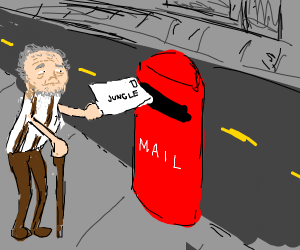 old guy sending mail to the jungle