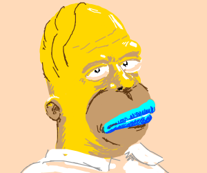 Homer Simpson with blue lips
