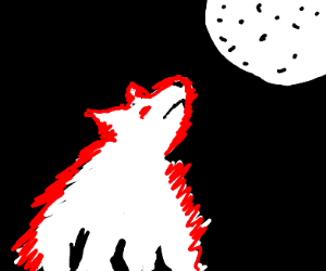 Dog with red eye looks at red moon
