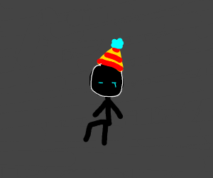 A sad man with a birthday hat.