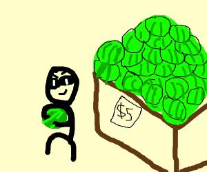 Shoplifting a watermelon