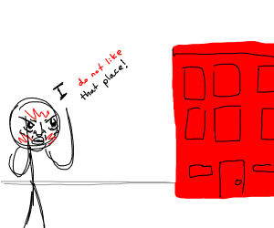 angry man hates red buildings