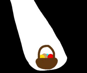 light shining on basket of eggs