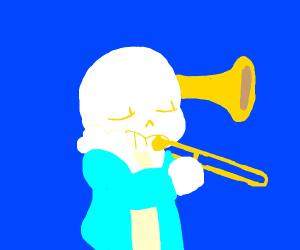Skeleton plays trombone