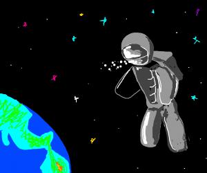 Popcorn spills from astronaut helmet