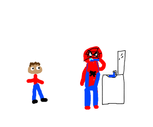 Kid watches Spider-Man brush his teeth