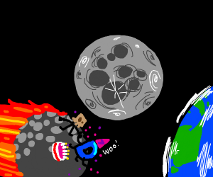 asteroid in space near moon with party on it