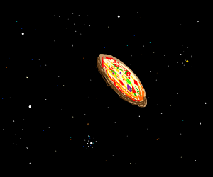 pizza... except it's in space