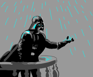 Darth Vader on a rainy balcony