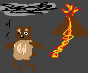 Bear running from volcano