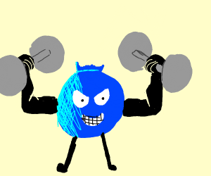 a blueberry lifting dumbbells