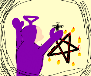 Tinky Winky performs an exorcism
