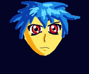 Imposing, glowey-eyed anime dude