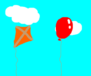 Kite and balloon side by side