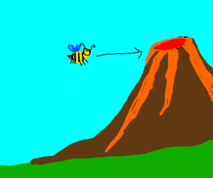 Bee flies towards a volcano.